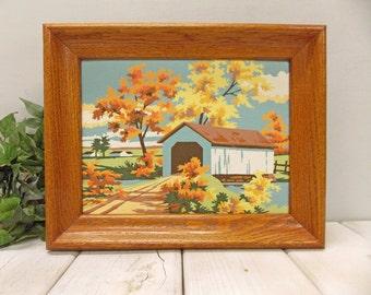 "Vintage Framed ""Paint by Number"" Oil Painting--- 1958 Painting ""Salt Creek Bridge""-- Mid Century Painting"