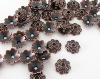 Copper Bead Bell Caps, Antique Copper Daisy Bead Caps, Bead Caps Filigree  (50) Pieces 8mm, Diy Craft Supplies, Jewelry Metal Findings