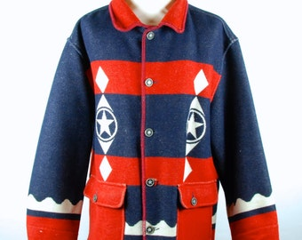 American Boho, USA themed Wool Jacket by United Colors of Benetton, Made in Italy