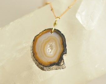 Natural Agate Geode Slice Pendant, Long Chain Necklace, Agate Slice Necklace, Unisex Jewelry, Jewelry For Men, Jewelry For Women, Gift Idea