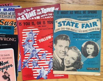vintage 1930's 40's show tune sheet music collection / piano sheet music / swing era / W W I / WWII music