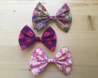 Hair bow 3 pack pink purple floral polka dots