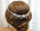 OOAK Art Deco Bridal Hair Chain, Vintage 1920s Rhinestone Wedding Headband, Forehead Crystal Crown Gatsby Headpiece, Wreath Downton Abbey