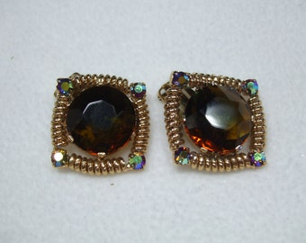 Vintage Huge Topaz and AB Rhinestone Gold Tone Earrings Clip