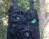 CHAD Special Order showdiva designs Asymmetrical Large Black Deerskin Leather Bag Purse LoNg FriNgE n Hand Sculpted Flowers