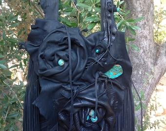 showdiva designs Asymmetrical Large Black Deerskin Leather Bag Purse LoNg FriNgE n Hand Sculpted Flowers
