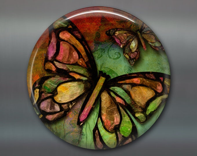 """3.5"""" butterfly decor, colourful butterly magnet, housewarming gift, hostess gift, bright color kitchen decor, large fridge magnet,  MA-314"""