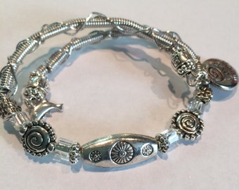 Memory Wire Bracelet with Silver Etched Bead with Charms