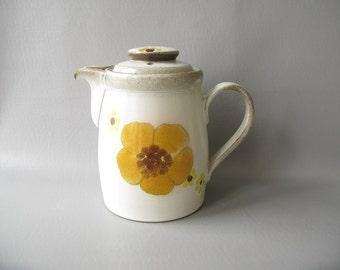 Vintage Stoneware Teapot, Minstrel, Denby, 70s, floral, yellow