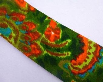 Bright Orange, Dark Green, Light Green, Blue, Brown, Psychedelic Vintage Men's Tie