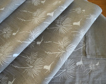 Linen Table Runner Australian Grass Tree Design Hand Screen Printed White&Natural