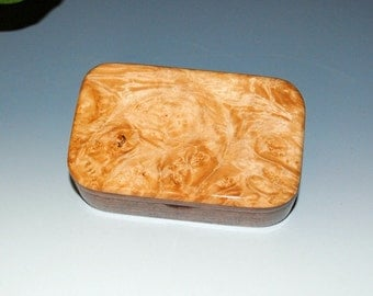 Maple Burl on Walnut Handmade Wooden Trinket Box - Wood Box, Treasure Box or Small Wood Box -USA Made by BurlWoodBox -Small Wooden Box,Boxes