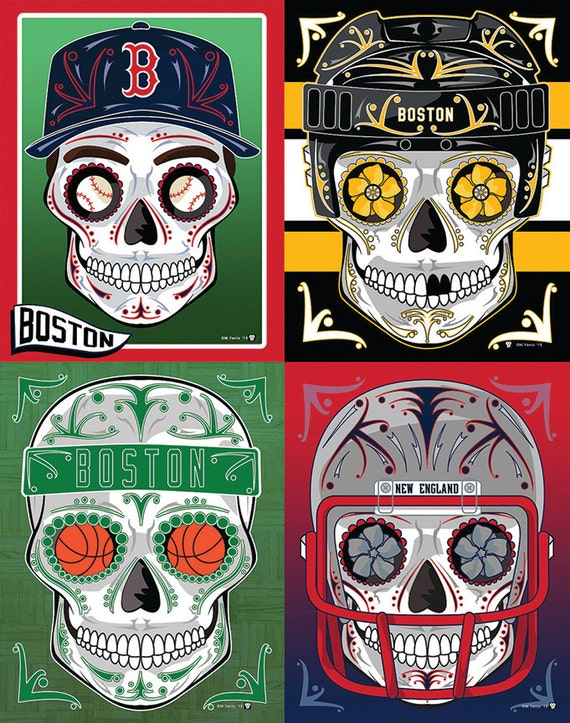 Boston Bundle 4 Sports Sugar Skull Prints My Sugar Skulls