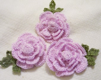 3 roses flowers hand dyed light purple appliques scrapbooking sewn on home decor handmade embellishments