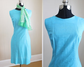 Shift Dress Vintage 1960s Blue Mod Mini Medium
