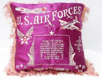 Military Pillow Cover US Air Forces To My Wife Herbert Smart Airport Georgia