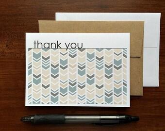 Chevron Thank You Notes - Beige Tan Grey Thank You Cards, Chevron Herringbone Geometric Stationery Set, Neutral Modern Thank You Card Set