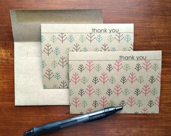 Holiday Thank You Notes - Winter Trees Green Red Teal Brown, Christmas Card Set, Holiday Stationery, Woodland Trees Thank You Cards, Kraft
