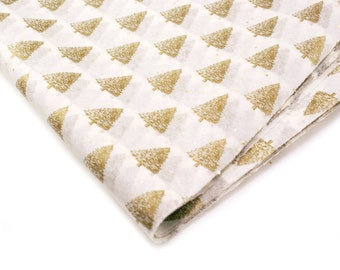 SALE - 24 sheets of Tissue Paper -  Gold Christmas Trees & Metallic Gold Confetti on White - 15 x 20 inch tissue paper
