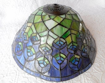 Retro/Vintage/Mid Century Handmade Blue/Green Stained Glass Shade