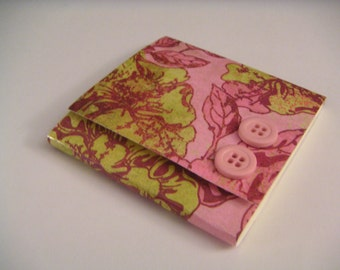 Pink and Green Floral Sticky Notes Pad with Two Pink Buttons