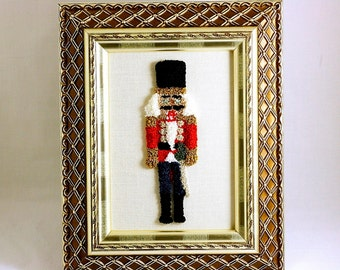 Ready to Ship! Nutcracker 3D Embroidery Sculpture. Fiber Art. Christmas Home Decor. Needle Punch Embroidery. Ballet. Red, Gold, Silver.