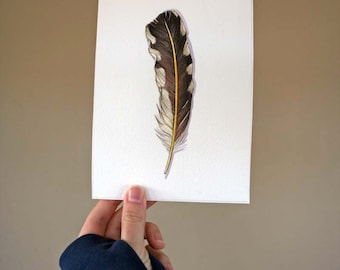 Feather Painting - Original Watercolor Painting of Northern Flicker Feather