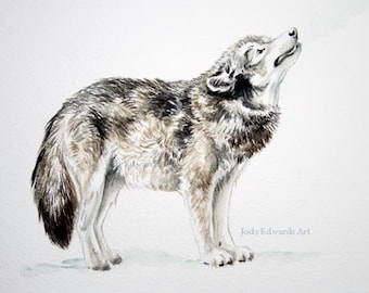 Howling Wolf - Original watercolor study of a wolf