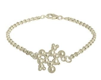 Chocolate (Theobromine) Molecule Bracelet in Sterling Silver. Adjustable length.