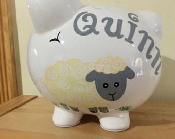 Personalized Large Piggy Bank Little Lambr- flower girl Ring Bearer , 1st birthday, christenings, Baptism communions, Baby Shower Gift