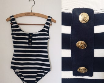 Vintage 1990s navy striped jersey backless swimsuit / nineties nautical swimsuit - small