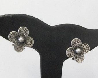 Vintage Danish Silver Modernist Earrings by Alexis Godtbergsen