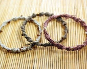 Trio of macrame bangle bracelets hemp seed beads, green brown natural