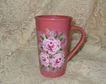 Victorian Cottage Chic Hand Painted Pink Rose Ceramic Coffee Mug