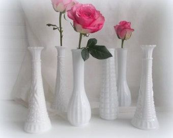 Milk Glass Vases Instant Collection of Six Wedding Bud Vases