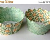CLOSEOUT SALE Mint Green and Orange Cupcake wrappers SET of 12