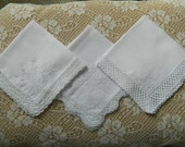 3 Vintage Hankies Good Vintage Condition Lot 2678