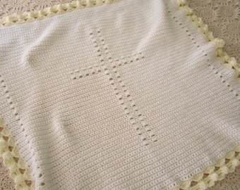 Crochet Angels Around You Cross Blanket 32 inches by 32 inches (81 cm by 81 cm)