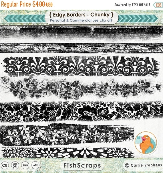 SALE - Grunge Digital Border Stamps, Floral Border Clip Art, Distressed Lace Border,  Ink Edge Photoshop Brush + PNG, Photography Resource