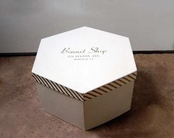 Vintage Hat Box, Geometric, Millinery Storage, 1960s, Bonnet Shop, Hempstead, NY Store, Six Sided