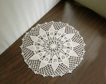 Sunflower Decor Crochet Lace Doily, Large Table Centerpiece, Ecru Flower, 14 Inches, Original Design, New Tabletop Accessory