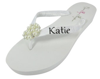Bridal Flip Flops - Black White Glitter Name Bride - any color -Wedding Flip Flops Ivory Wedge White Platform - Personalized
