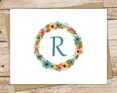 monogram note cards, initial notecards - set of 8 - floral, flower wreath - folded personalized stationery, stationary - feminine, nature