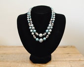 Mid Century Double Strand Beaded Necklace Japan Ice Blue