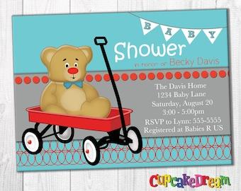 Boy Baby Shower Invitations, Teddy Bear Baby Shower