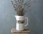 Vintage vase. White ceramic vase with handle. Bavaria Ceramic vase