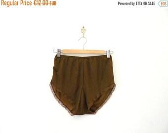 40% OFF SALE // Vintage nylon panties. deadstock panties. 1970s brown french knickers. lingerie