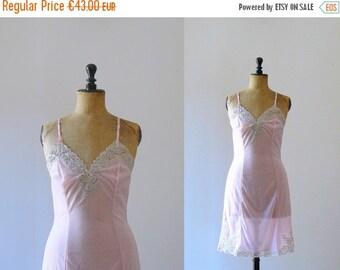 40% OFF SALE // Vintage 1960s slip. 60s deadstock pink sheer lace slip dress. negligee. lingerie