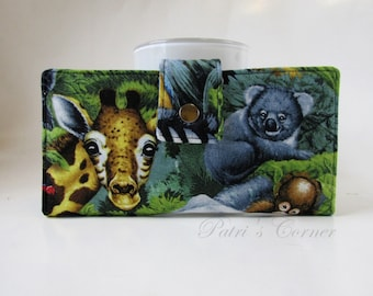 Handmade women wallet - Love  the zoo in my wallet - Wildlife - ID clear pocket - ready to ship - gift for her