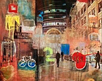 NEW, Colorful, digital mixed media, collage, Minnesota, bike, print, figures, office, wall art, home decor, modern, textured,  art, fine